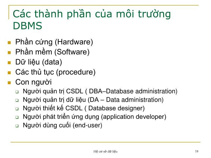 Các thành phần của môi trường DBMS