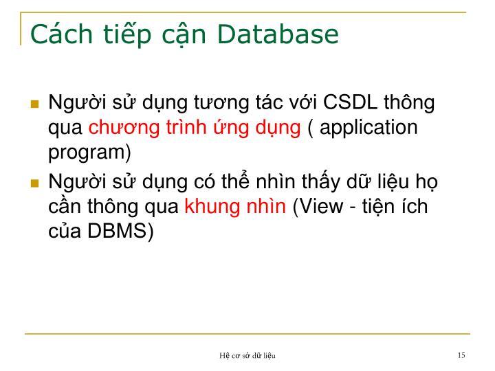 Cách tiếp cận Database