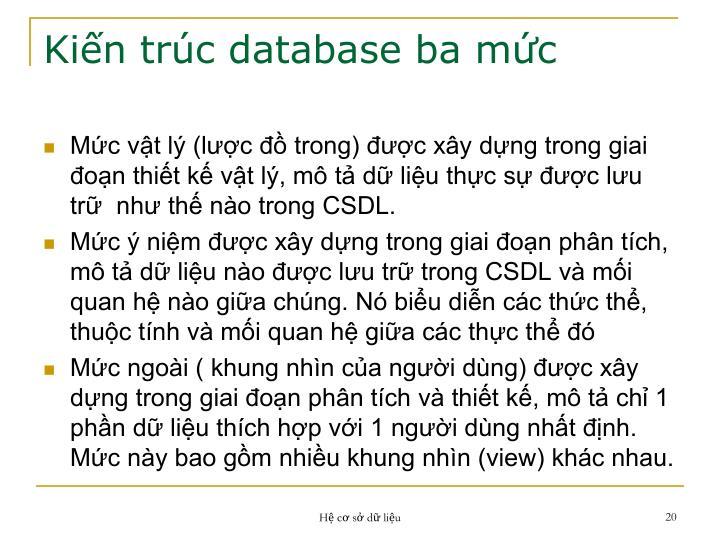 Kiến trúc database ba mức
