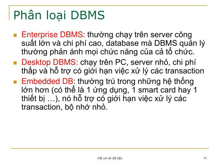 Phân loại DBMS