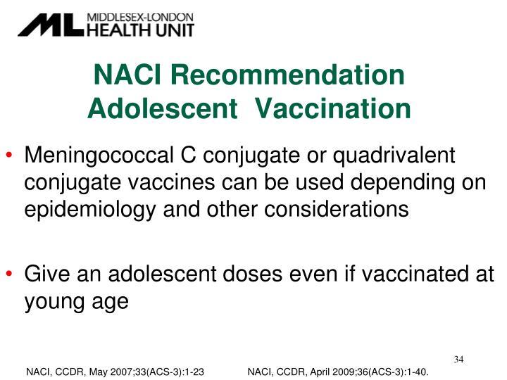 NACI Recommendation