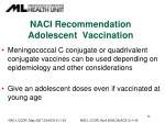 naci recommendation adolescent vaccination