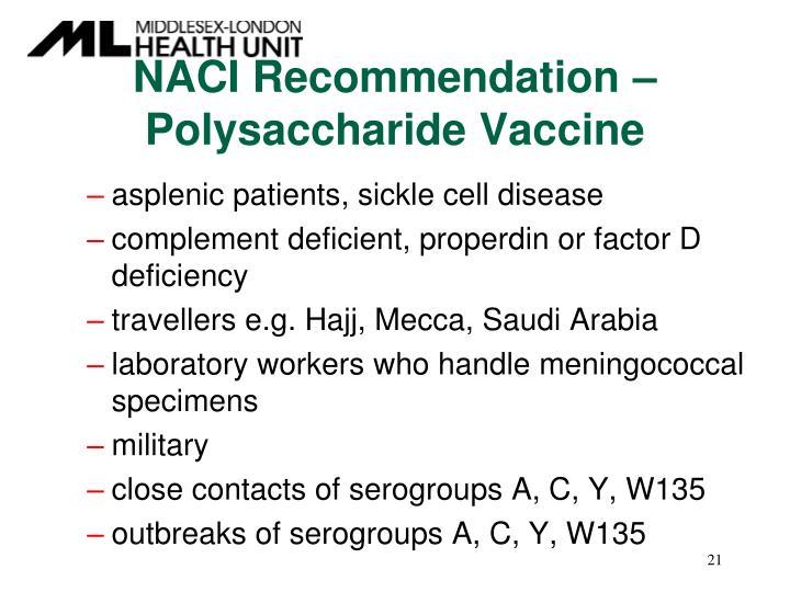 NACI Recommendation – Polysaccharide Vaccine
