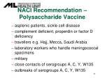 naci recommendation polysaccharide vaccine