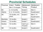 provincial schedules