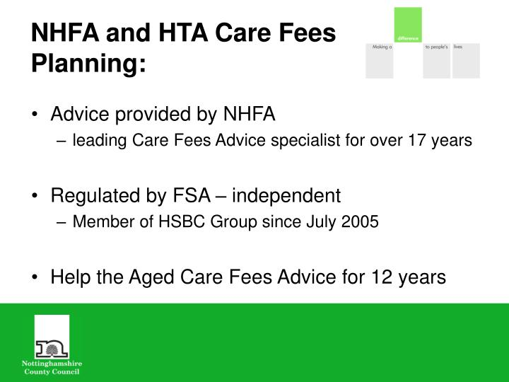 NHFA and HTA Care Fees Planning: