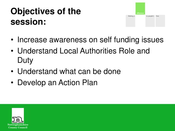 Objectives of the session: