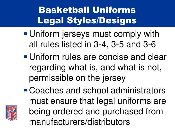 Basketball uniforms legal styles designs