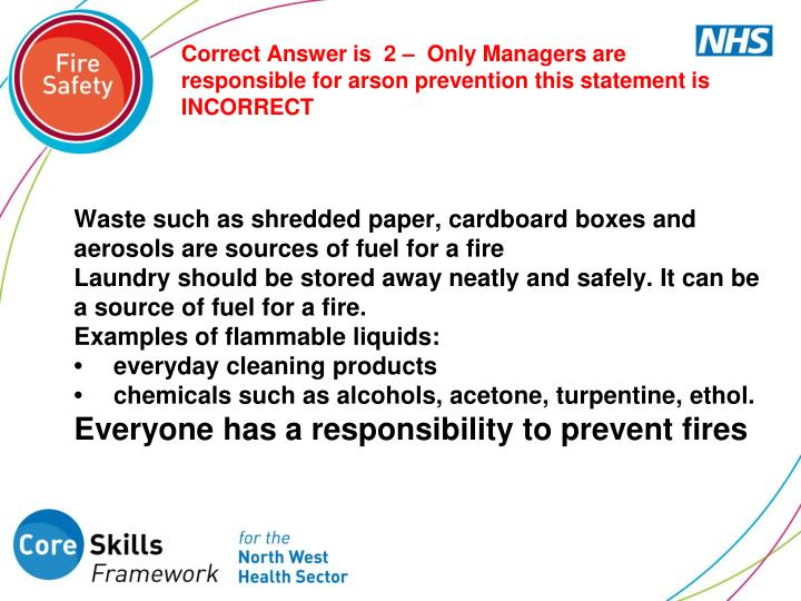 Correct Answer is  2 –  Only Managers are responsible for arson prevention this statement is INCORRECT