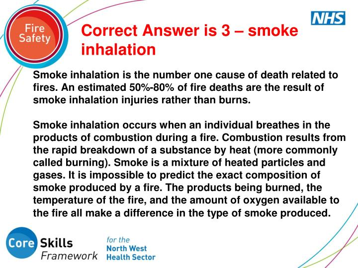 Correct Answer is 3 – smoke inhalation