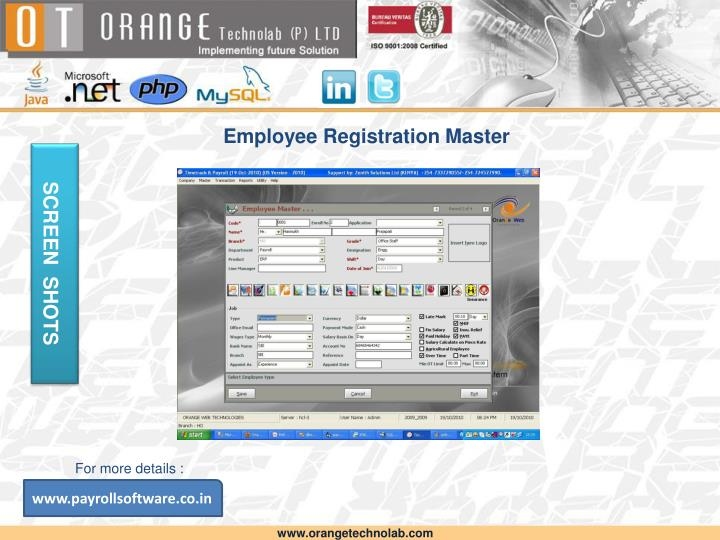 Employee Registration Master