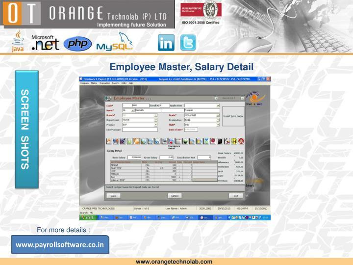 Employee Master, Salary Detail