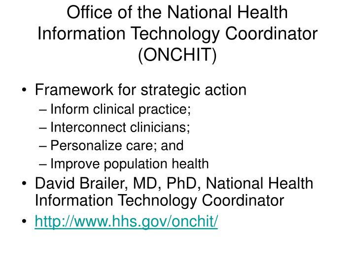 Office of the National Health Information Technology Coordinator (ONCHIT)