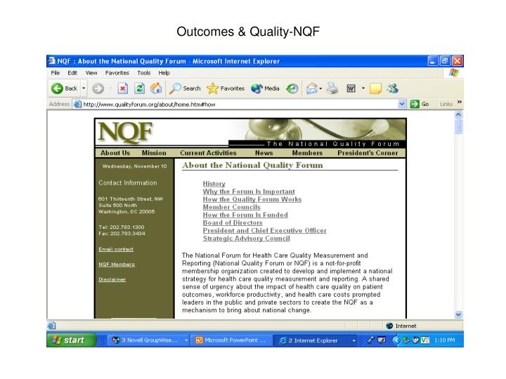Outcomes & Quality-NQF