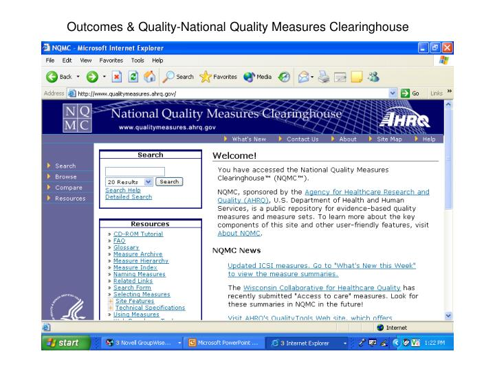 Outcomes & Quality-National Quality Measures Clearinghouse