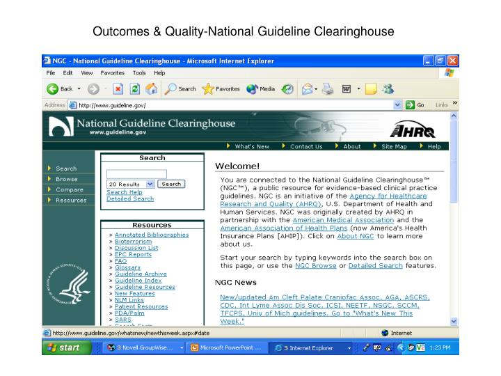 Outcomes & Quality-National Guideline Clearinghouse