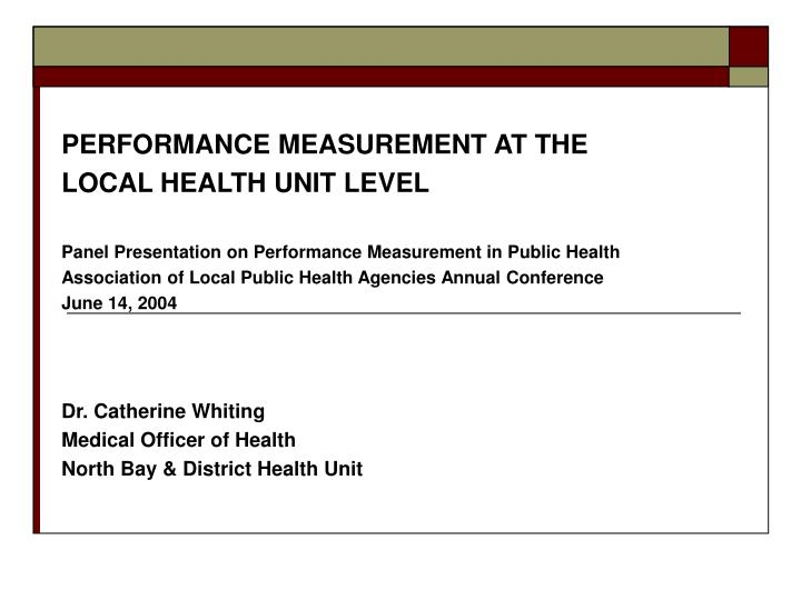 PERFORMANCE MEASUREMENT AT THE