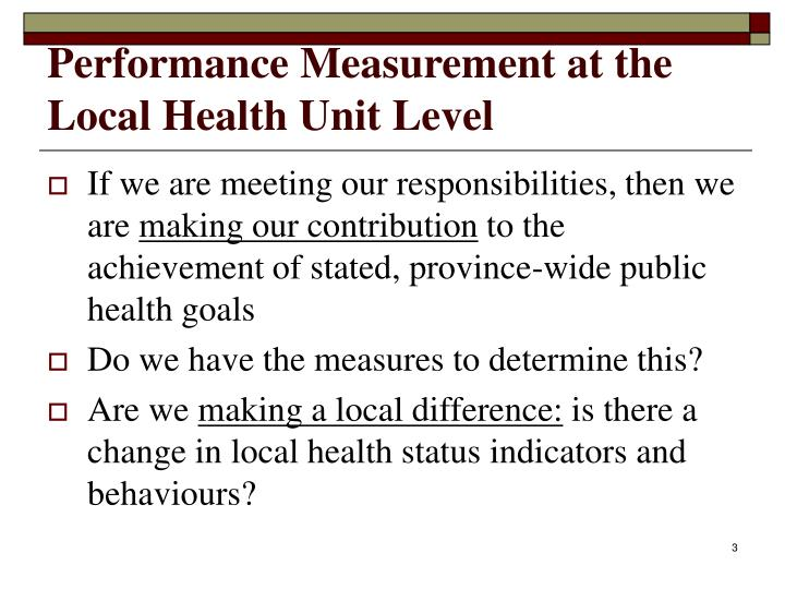 Performance measurement at the local health unit level1