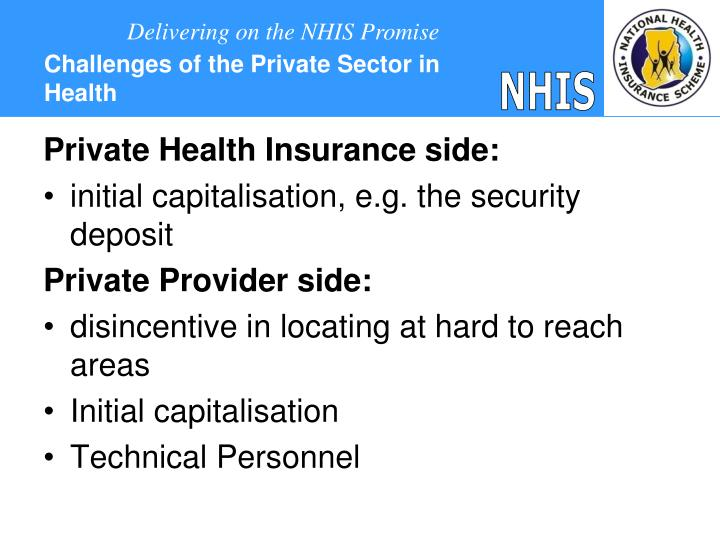 Challenges of the Private Sector in Health