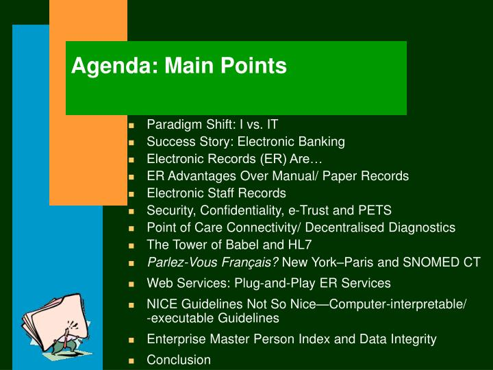 Agenda: Main Points