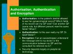 authorisation authentication and encryption