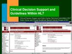clinical decision support and guidelines within hl7