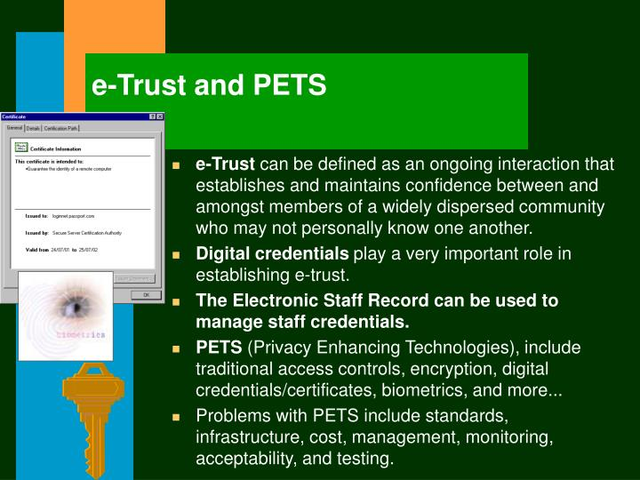 e-Trust and PETS
