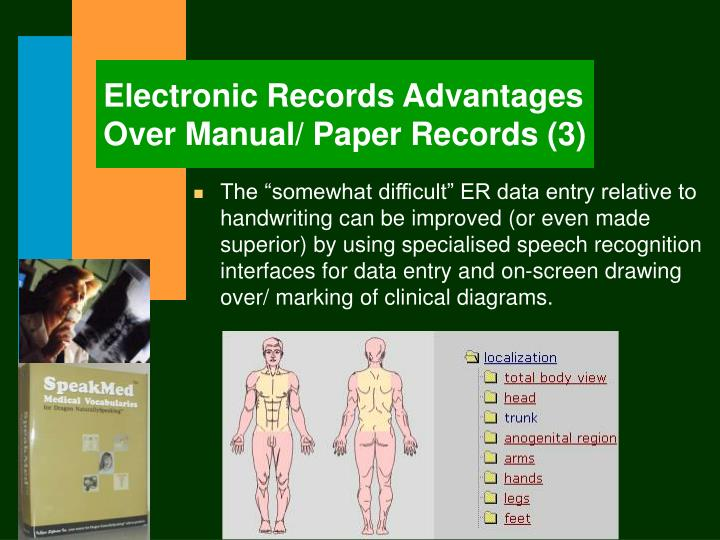 Electronic Records Advantages Over Manual/ Paper Records (3)