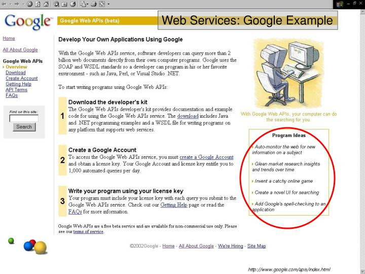 Web Services: Google Example