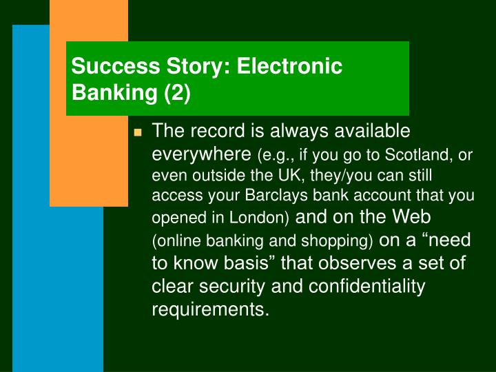 Success Story: Electronic Banking (2)