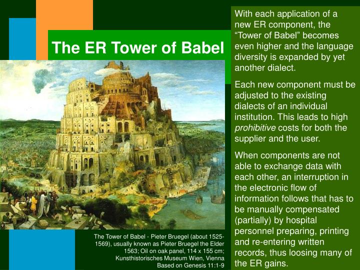 "With each application of a new ER component, the ""Tower of Babel"" becomes even higher and the language diversity is expanded by yet another dialect."