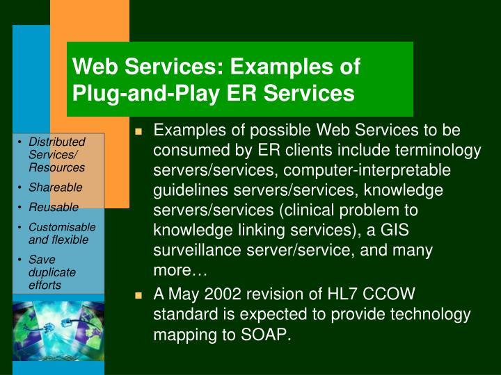 Web Services: Examples of Plug-and-Play ER Services