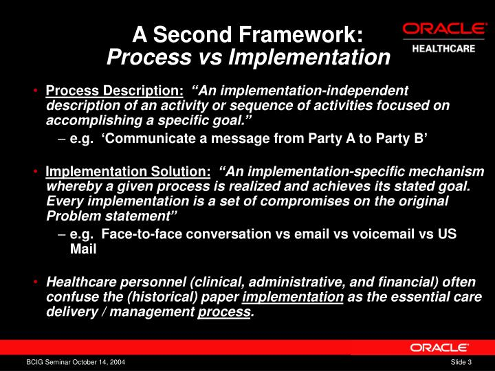 A second framework process vs implementation