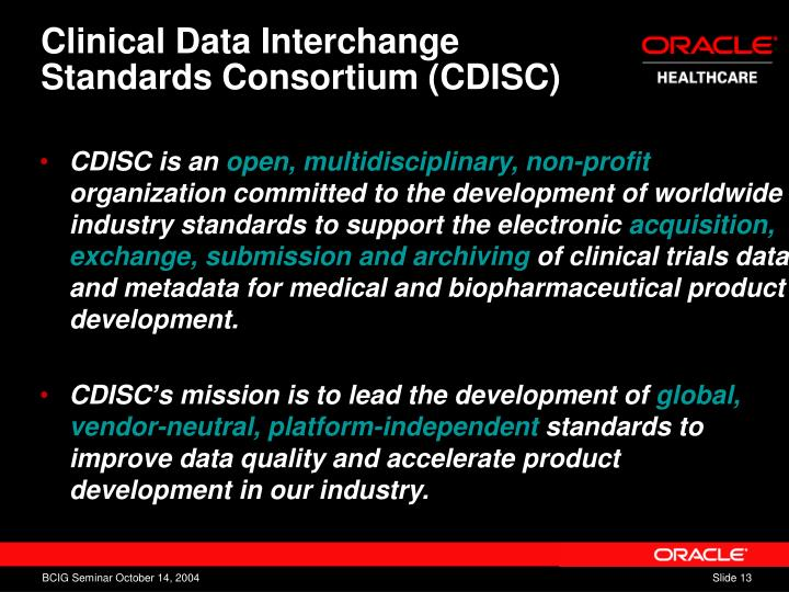 Clinical Data Interchange Standards Consortium (CDISC)