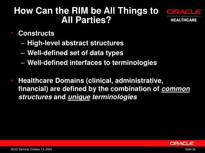 How Can the RIM be All Things to All Parties?