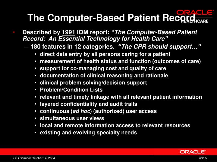 The Computer-Based Patient Record