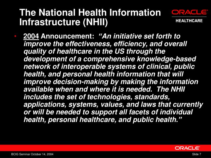 The National Health Information Infrastructure (NHII)
