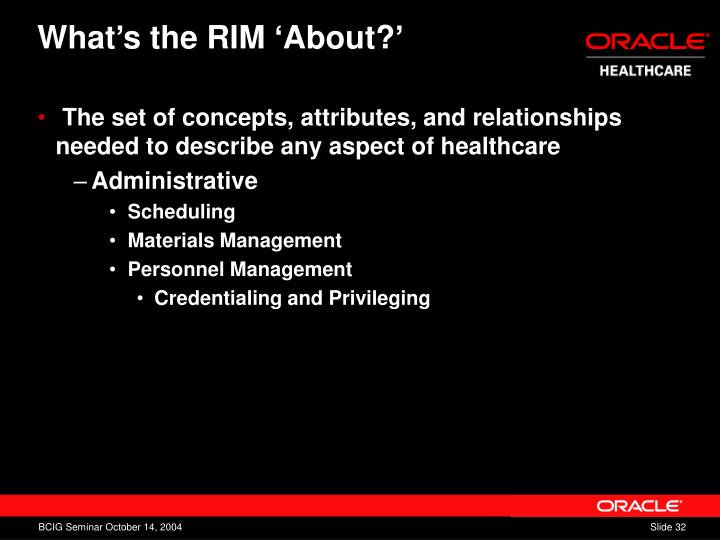 What's the RIM 'About?'