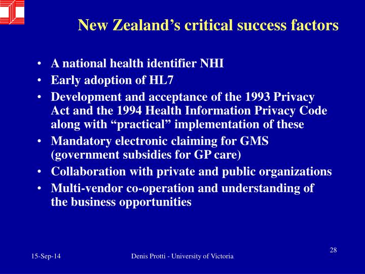 New Zealand's critical success factors