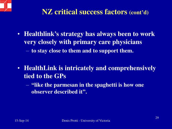 NZ critical success factors