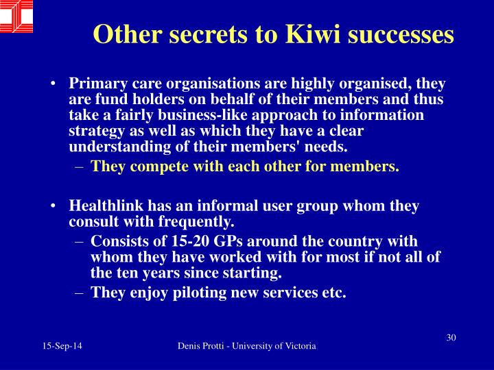 Other secrets to Kiwi successes