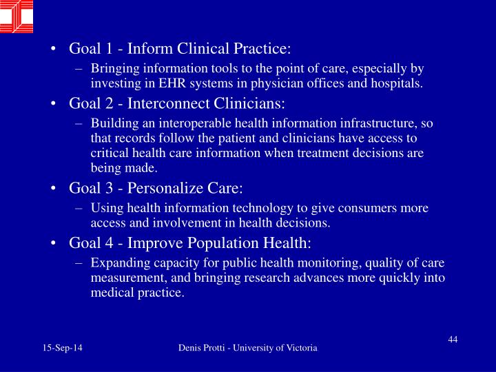 Goal 1 - Inform Clinical Practice: