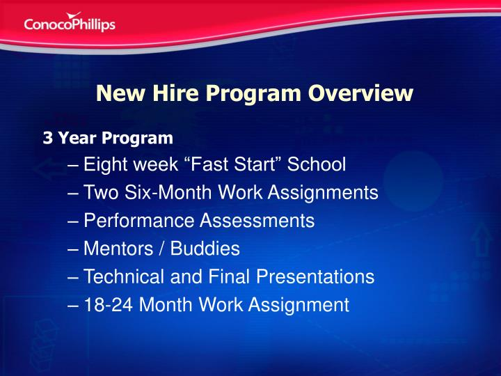 New Hire Program Overview
