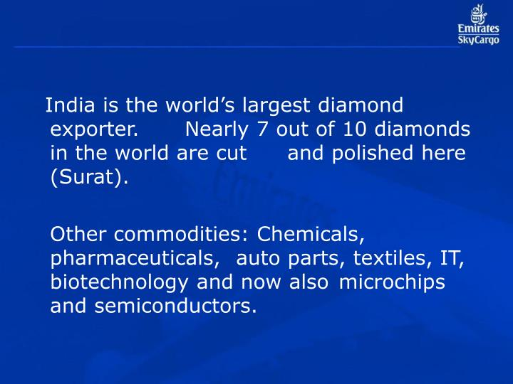 India is the world's largest diamond exporter. Nearly 7 out of 10 diamonds in the world are cut and polished here (Surat).
