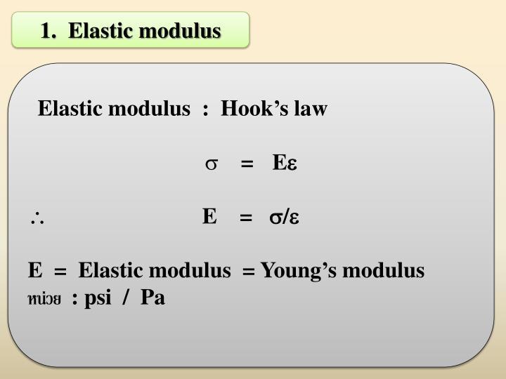 1.  Elastic modulus