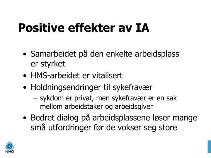 Positive effekter av IA