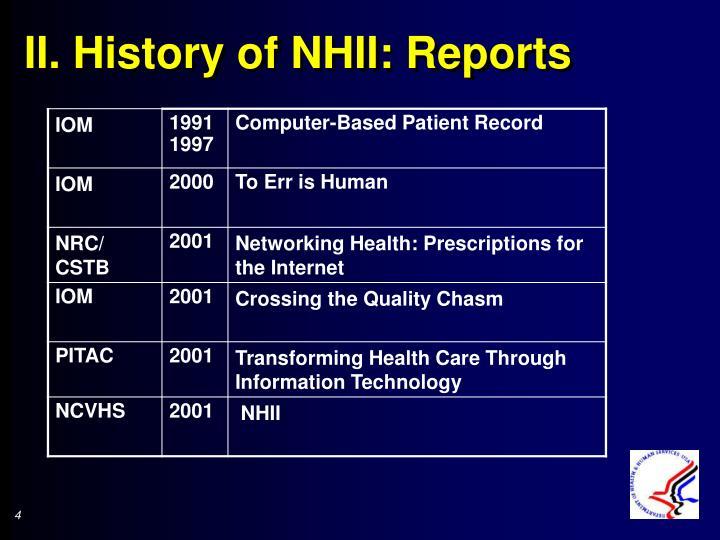 II. History of NHII: Reports