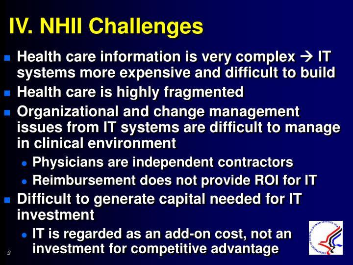 IV. NHII Challenges