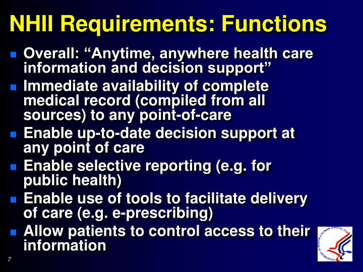 NHII Requirements: Functions