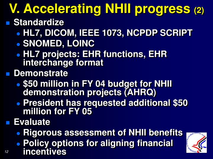 V. Accelerating NHII progress